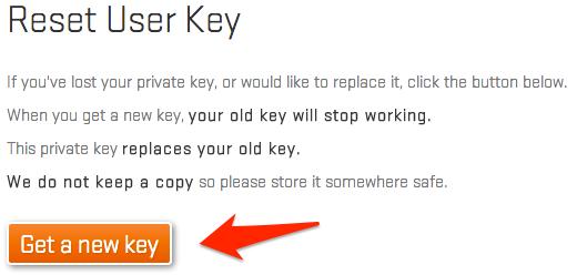 Régénérer sa clé utilisateur