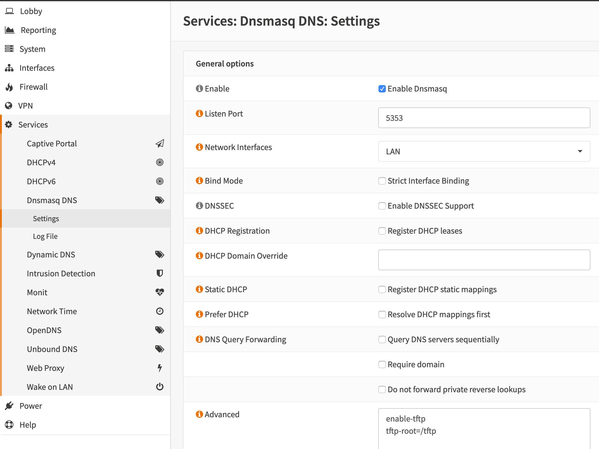 Configuration de DNSMasq