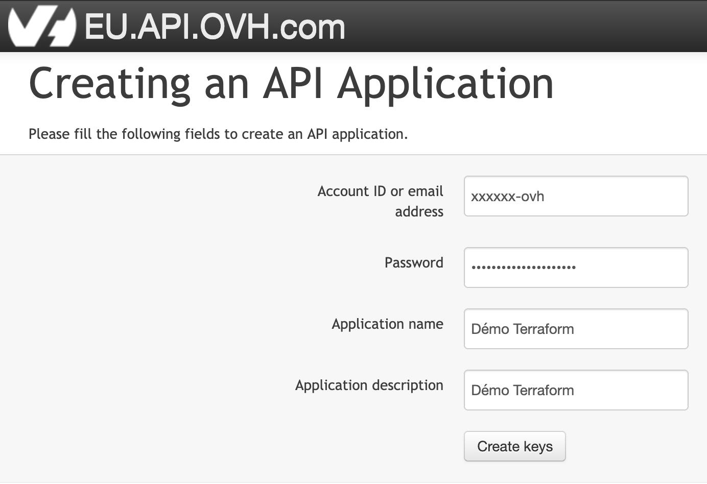 Création de clée d'API OVH/1