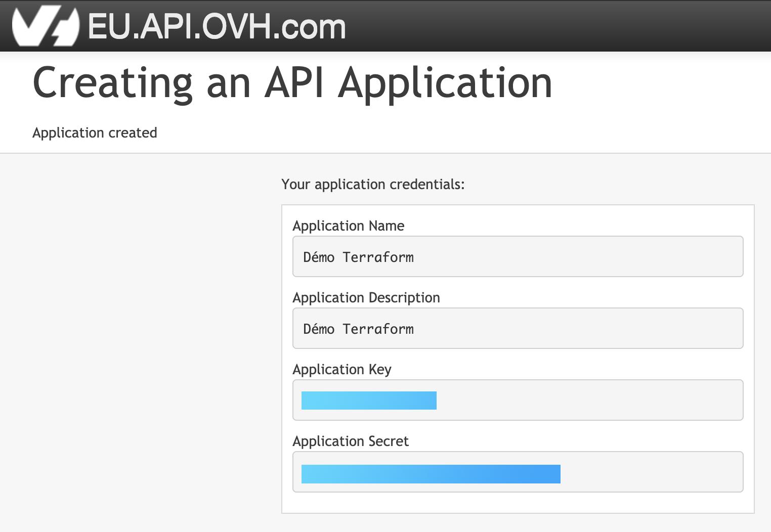 Création de clée d'API OVH/2